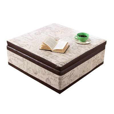 Square Bonded Leather Storage Ottoman by Armen Living