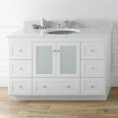 Ronbow shaker 48 bathroom vanity cabinet base in white frosted glass doors reviews wayfair for Bathroom vanity with frosted glass doors