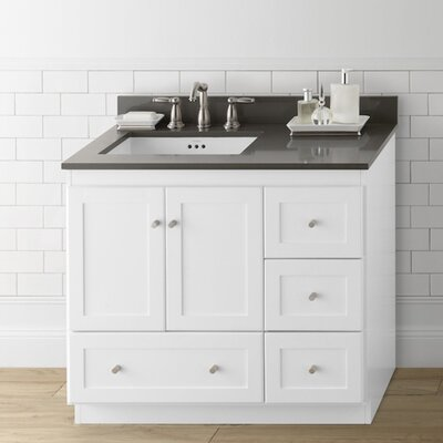 Shaker 36 bathroom vanity cabinet base in white wood - Unfinished shaker bathroom vanity ...
