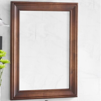 Ronbow traditional 24 x 32 solid wood framed bathroom mirror in colonial cherry reviews for Cherry wood framed bathroom mirrors