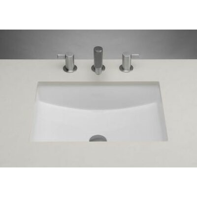 Rectangle Ceramic Undermount Bathroom Sink with Overflow in White Product Photo