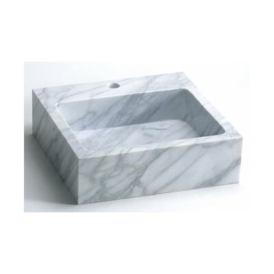 Rectangle Natural Carrara Marble Vessel Bathroom Sink in White by Ronbow