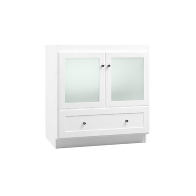 Ronbow shaker 30 bathroom vanity cabinet base in white frosted glass doors for Bathroom vanity with frosted glass doors