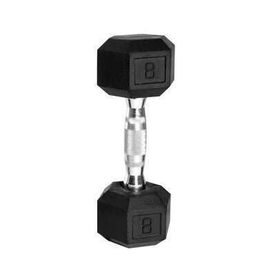 Rubber Coated Hex Dumbbell with Contoured Chrome Handle by Cap Barbell