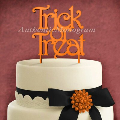 Trick and Treat Wooden Cake Topper by aMonogramArtUnlimited