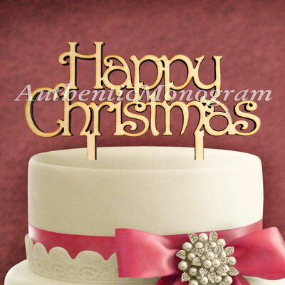Happy Christmas Wooden Cake Topper by aMonogramArtUnlimited