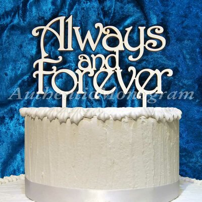 Always And Forever Wooden Cake Topper by aMonogramArtUnlimited