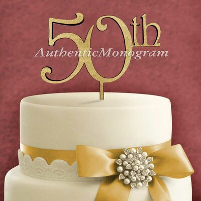 50Th Wooden Cake Topper by aMonogramArtUnlimited