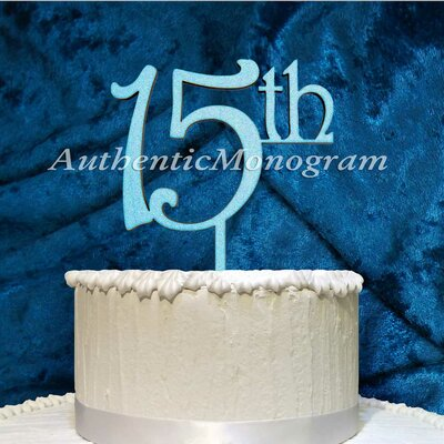 15Th Wooden Cake Topper by aMonogramArtUnlimited