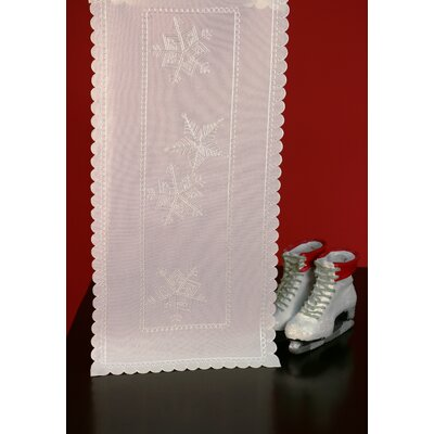 Fine Linen Holiday Snow Flurries Table Runner by Wimpole Street Creations