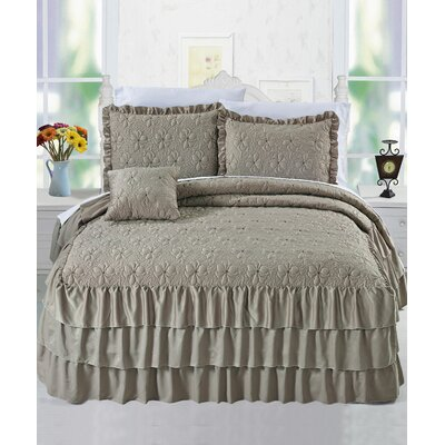 Ruffle Matte Satin 4 Piece Bedspread Set by Serenta