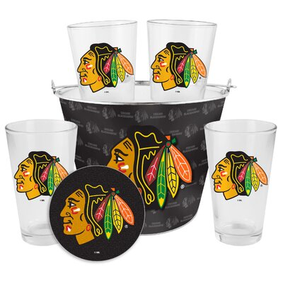 NHL Chicago Blackhawks 9 Piece Gift Bucket Set by Boelter Brands