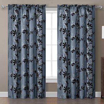 Barclay Flocked Single Curtain Panel Product Photo