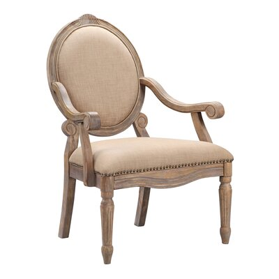Brentwood Oval Back Exposed Wood Arm Chair by Madison Park
