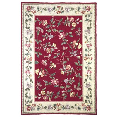 Colonial Crimson / Ivory Floral Area Rug by KAS Rugs