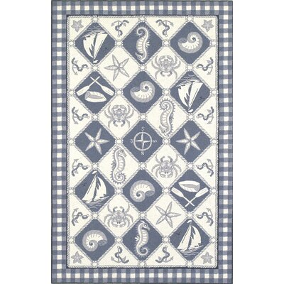 KAS Rugs Colonial Blue/Ivory Nautical Novelty Rug