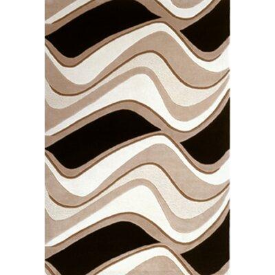 Eternity Black & Beige Waves Area Rug by KAS Rugs