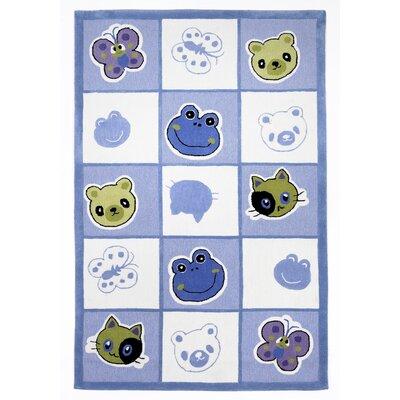 KAS Rugs Kolorful Kidz Checkerboard Friends Blue Area Rug