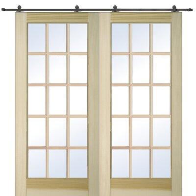 15 lite prehung interior french double door wayfair for 15 lite interior french door
