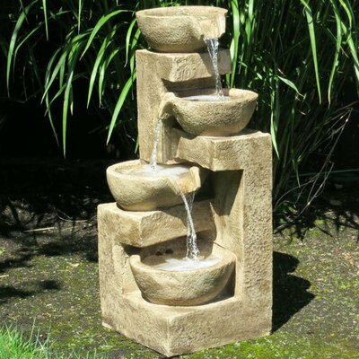 Resin and Fiberglass Flowing Bowl Fountain by BERS
