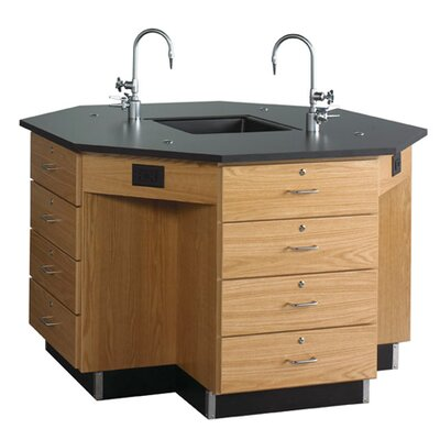 Diversified Woodcrafts Octagon Workstation with Drawer Base