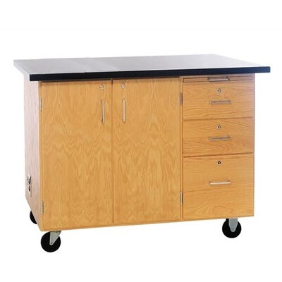 Diversified Woodcrafts Mobile Instructor's Desk With Drawers and Center Storage