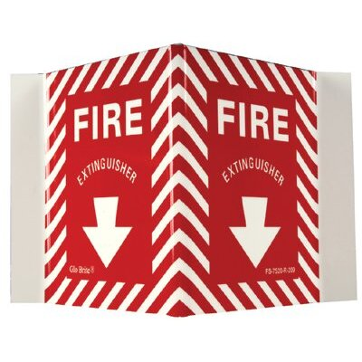 Jessup Glow In The Dark Fire Signs - glow in the dark fire extinguisher  rigid v-sign