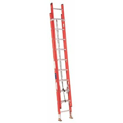 Louisville Ladder 32 ft Fiberglass Extension Ladder with 300 lb. Load Capacity