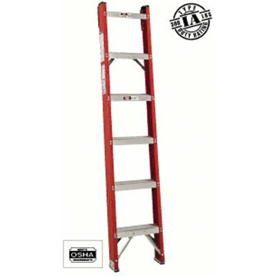Louisville Ladder 6 ft Fiberglass Straight Ladder with 300 lb. Load Capacity