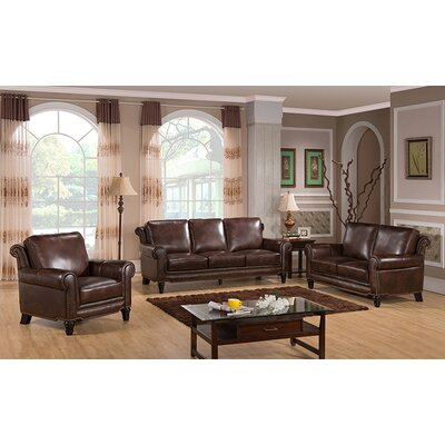 Macy Top Grain Leather Sofa, Loveseat and Chair Set by Coja