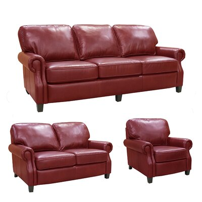 Montgomery Top Grain Leather Sofa, Loveseat and Chair Set by Coja