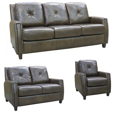 Topeka Top Grain Leather Sofa, Loveseat and Chair Set by Coja