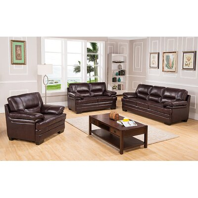 San Paolo Top Grain Leather Sofa, Loveseat and Chair Set by Coja