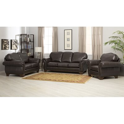 Fairfield 3 Piece Italian Leather Sofa, Loveseat and Chair Set by Coja
