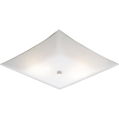 Square White Glass Semi Flush Mount by Progress Lighting