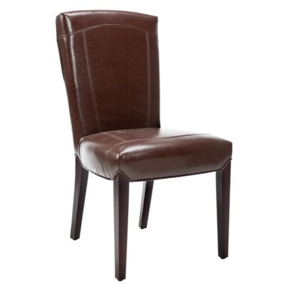 Safavieh Ken Bi-Cast Leather Side Chair in Distressed Brown (Set of 2)