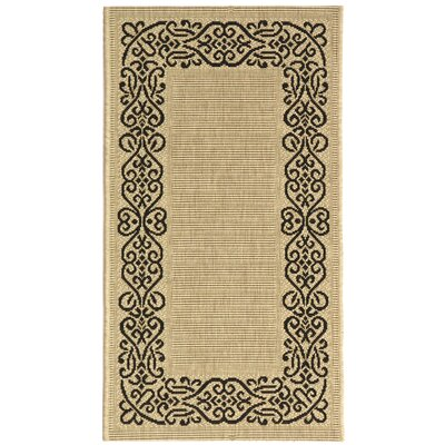 Courtyard Ivoly / Black Outdoor Area Rug by Safavieh