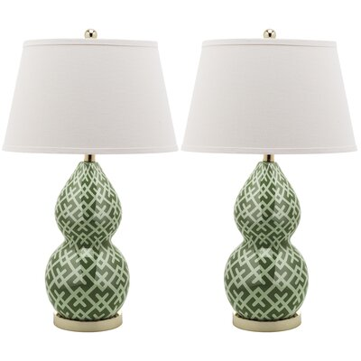 """Safavieh Cross-Hatch Double Gourd 25.5"""" H Table Lamp with Empire Shade"""
