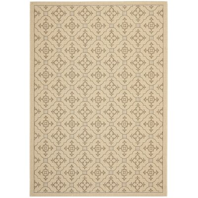 Courtyard Creme/Brown Indoor/Outdoor Rug by Safavieh