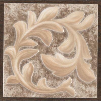 "Mohawk Flooring Natural Primabella 4"" x 4"" Cascading Leaves Decorative Corner Tile in Espresso"