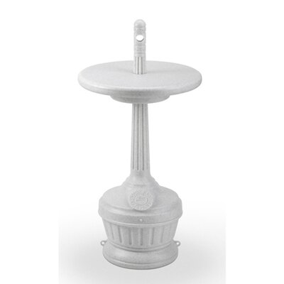 Commercial Zone Patio Smokers' Outpost with Table Cigarette Receptacle in White
