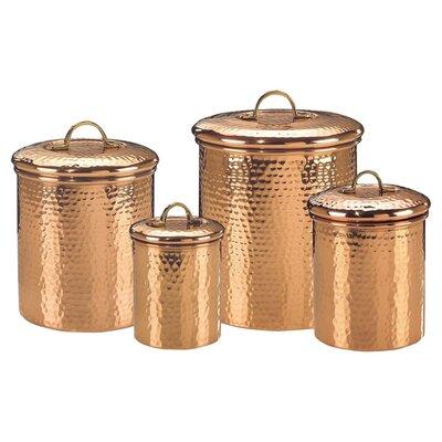 Old Dutch International Hammered 4 Piece Copper Canister Set