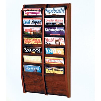 Wooden Mallet 14 Pocket Wall Mount Magazine Rack