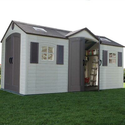Lifetime Dual Entry 8 Ft. W x 15 Ft. D Steel and Plastic Garden Shed