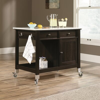 Miscellaneous Storage Kitchen Island with Faux Carrara Marble Top Product Photo