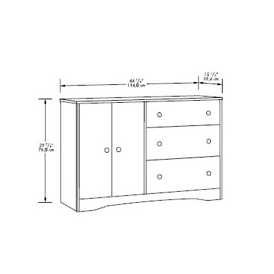 Sauder Beginnings 3 Drawer Combo Dresser in Highland Oak