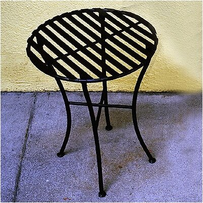Folding Iron Round Side Table by Pangaea