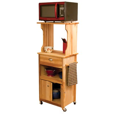 Catskill craftsmen microwave cart with butcher block top for Catskill craftsmen kitchen cabinets