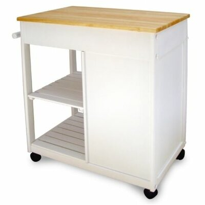Catskill Craftsmen Cottage Kitchen Cart With Wooden Top