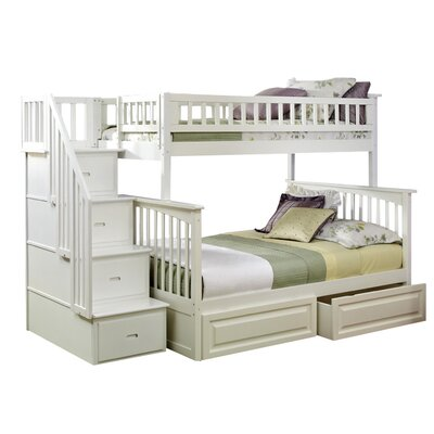 Atlantic Furniture Columbia Twin Bunk Bed with Storage & Stairs